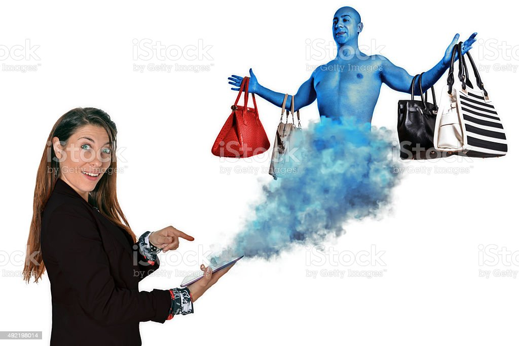 online shopping genie stock photo