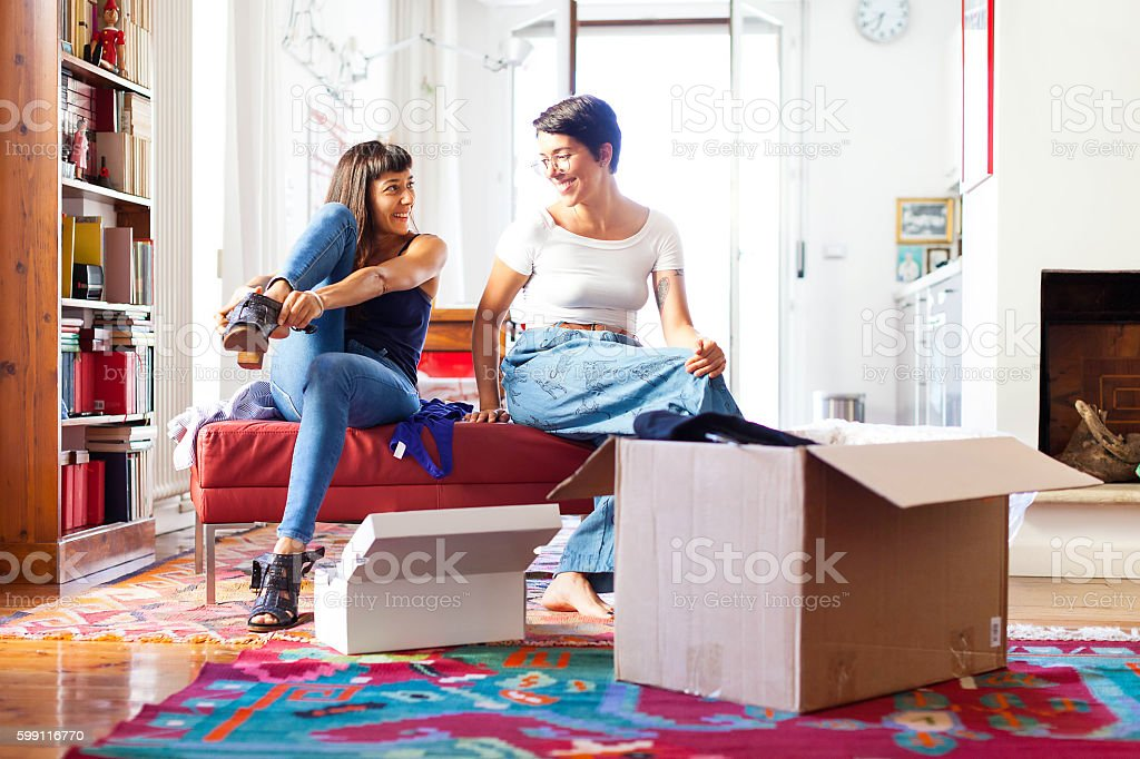 Online shopping makes life easier - Unboxing Online Purchase stock photo