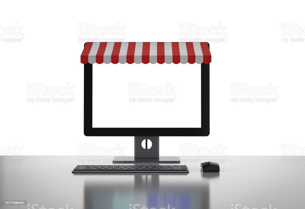 Tiendas De Ordenadores Online.Tiendas Online En El Ordenador De Sobremesa Foto De Stock Y