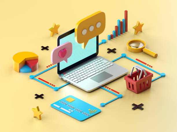 online shopping - advertising isometric stock photos and pictures