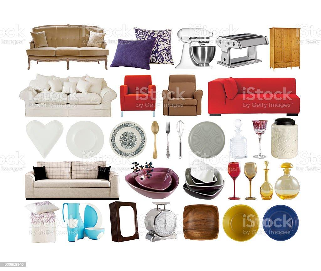 online shopping home decoration items altogether Arrangement Stock Photo