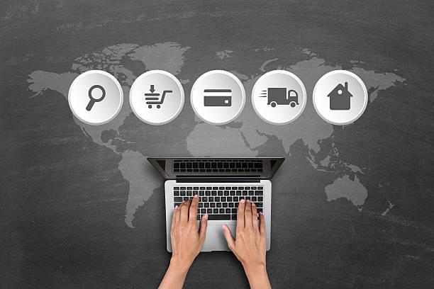 online-shopping-konzept prozess schritt - brille bestellen stock-fotos und bilder