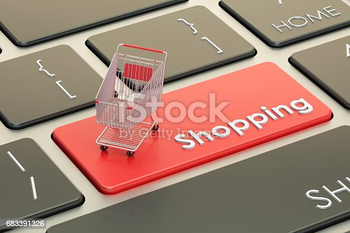 istock Online Shopping red keyboard button, 3D rendering 683391326