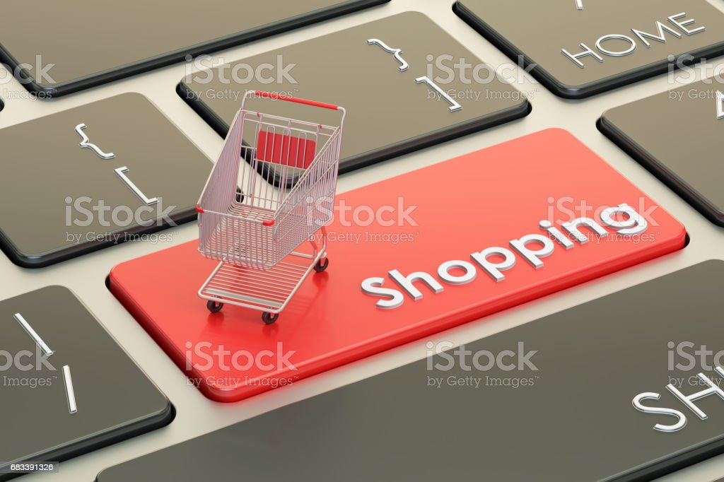 Online Shopping red keyboard button, 3D rendering stock photo