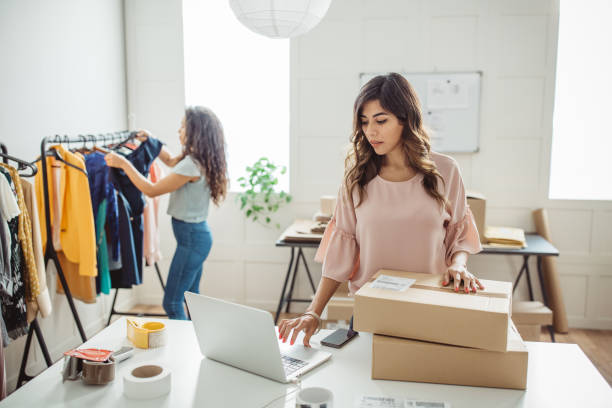 Online shopping small business stock photo