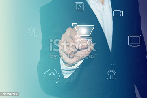istock Online shopping Touch Screen concept selecting shopping cart 537548938