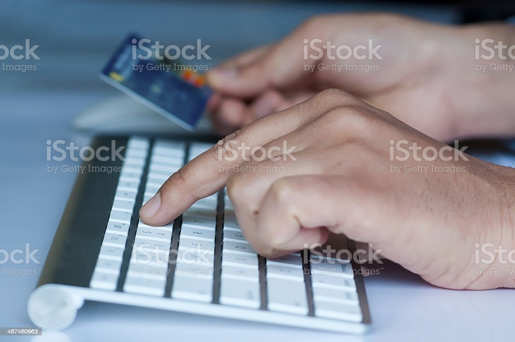 Online shopping with credit card royalty-free stock photo