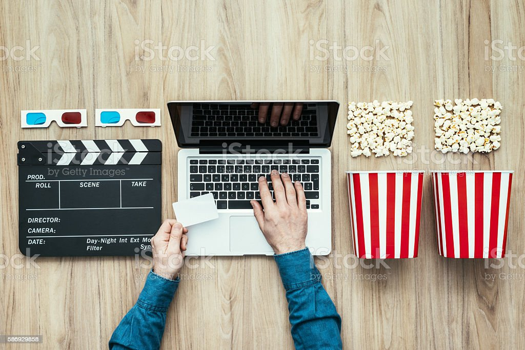 Online streaming cinema stock photo