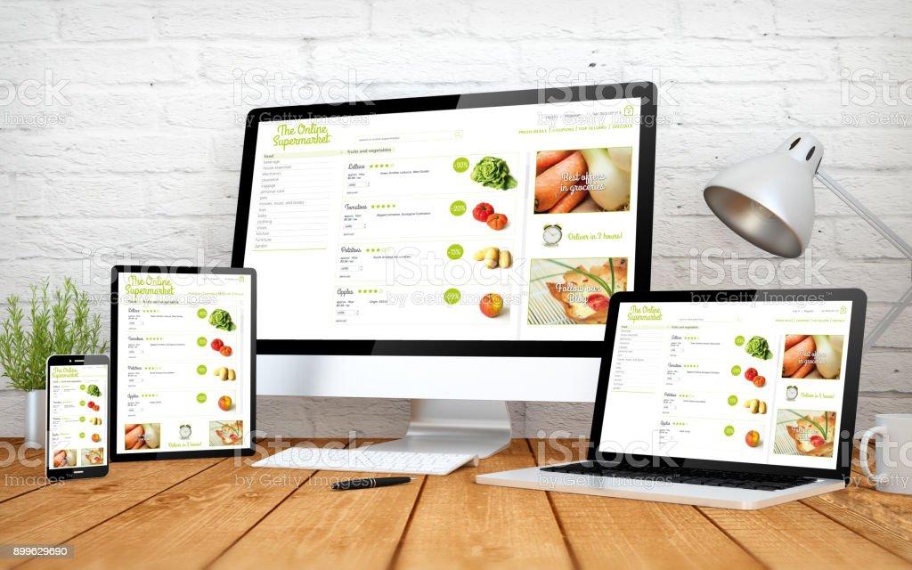 Online-Supermarkt-Bildschirm multidevices – Foto