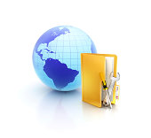 istock Online support and service tools beside Globe in folder icon 466988741