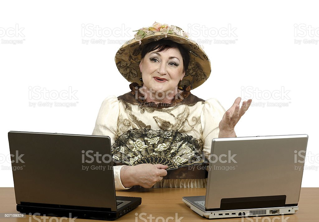 online support operator wearing halloween costume royalty free stock photo