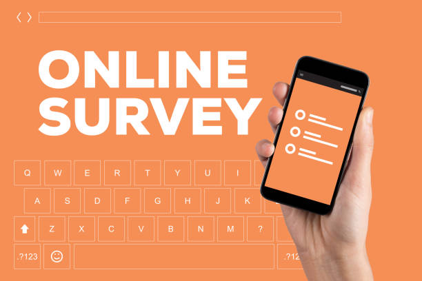 konzept des online-umfrage - zeckenmittel stock-fotos und bilder