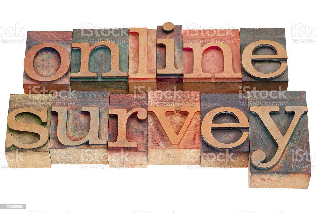 online survey - letterpress type royalty-free stock photo