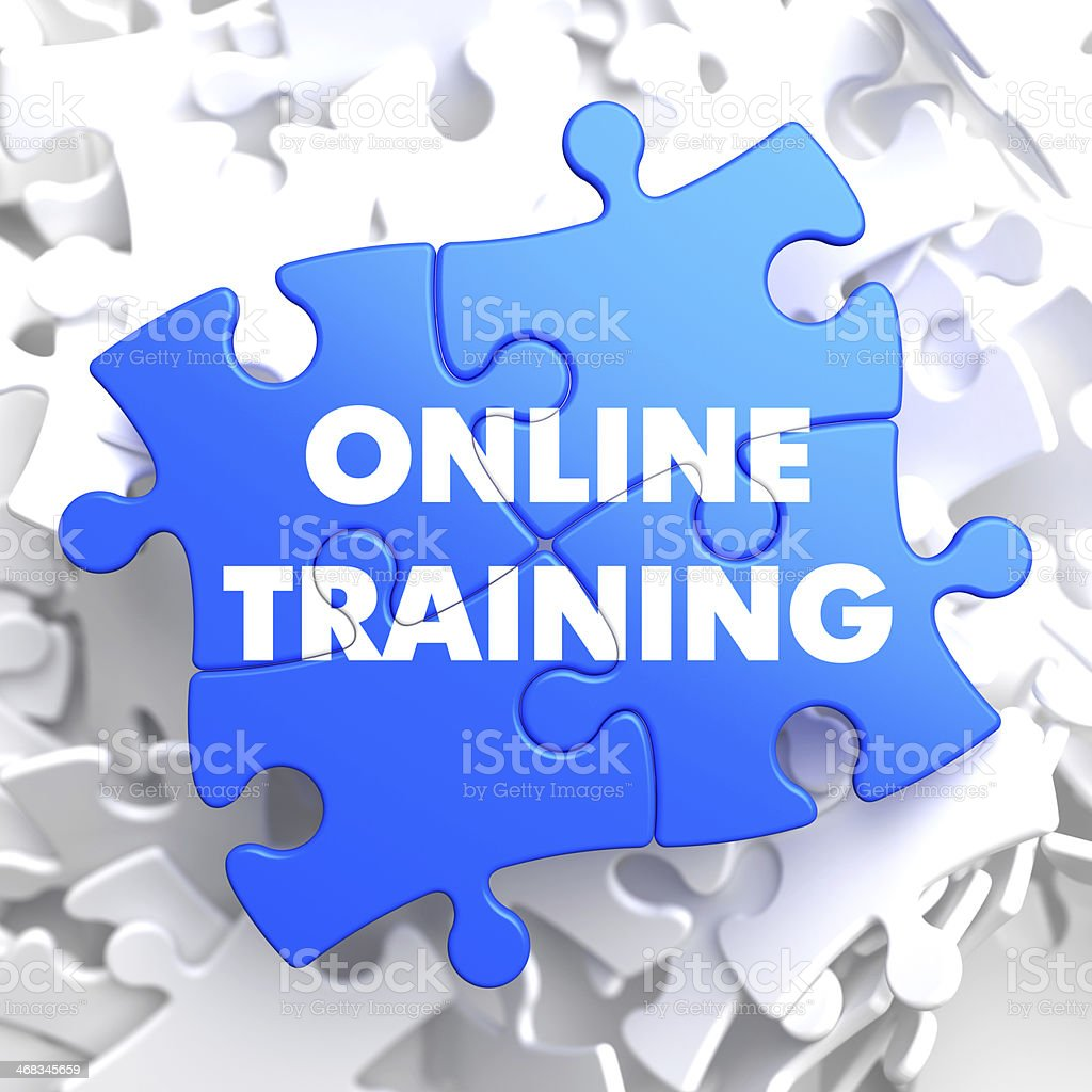 Online Training on Blue Puzzle. royalty-free stock photo