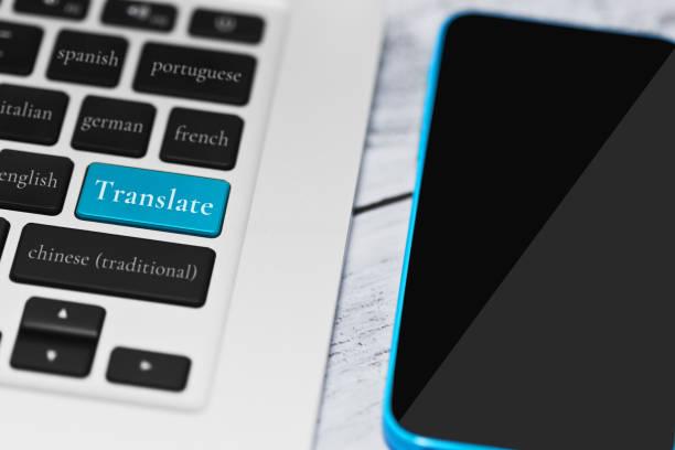 online-übersetzungs-service-konzept - spanisch translator stock-fotos und bilder