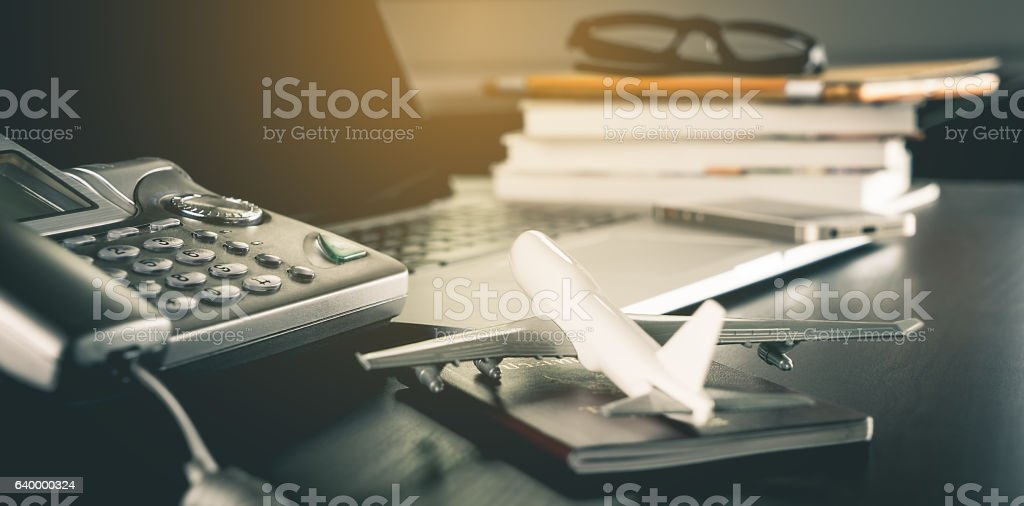 online Travel Agency service office  working table - foto de stock