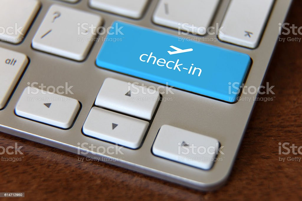 Online vacation flight check-in stock photo
