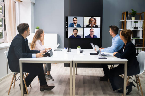 Online Video Conference Social Distancing Business Meeting stock photo