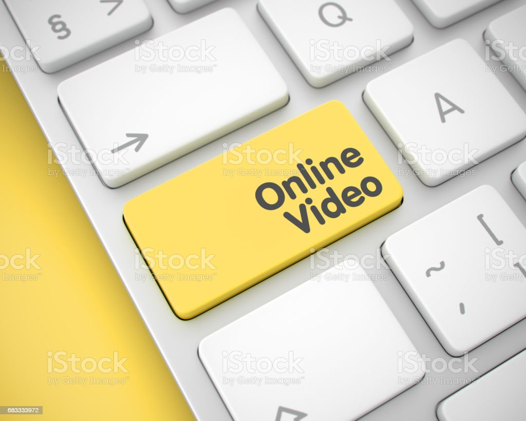 Online Video - Message on the Yellow Keyboard Key. 3D royalty-free stock photo
