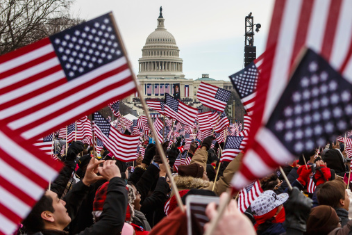 Onlookers Observe 2013 Presidential Inauguration Of Barack Obama Stock Photo - Download Image Now