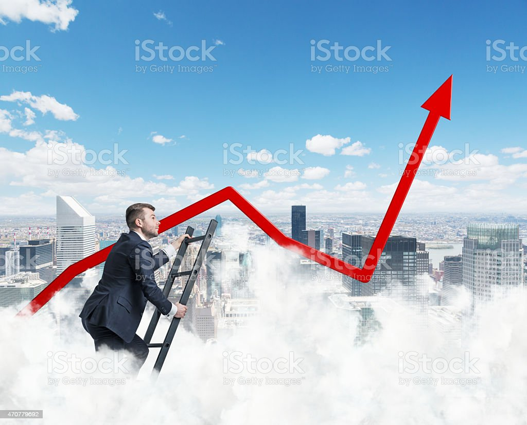 Only clouds are higher than our business approach stock photo