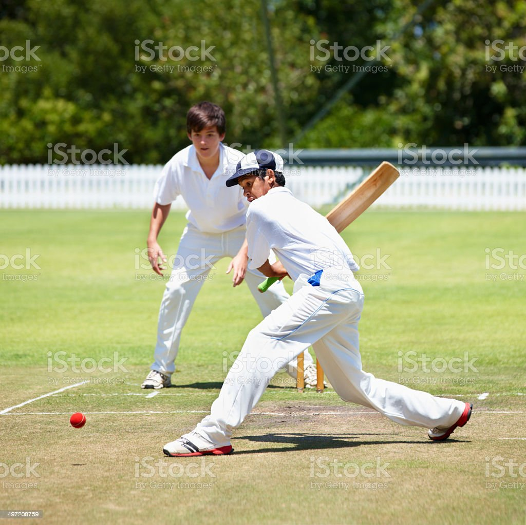 Only four runs to win - can he do it? stock photo