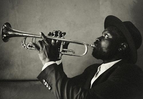 Trumpet, vintage, dark, art, jazz, trumpet player, close-up, music, fun, bar, passion, atmospheric mood, history, music,