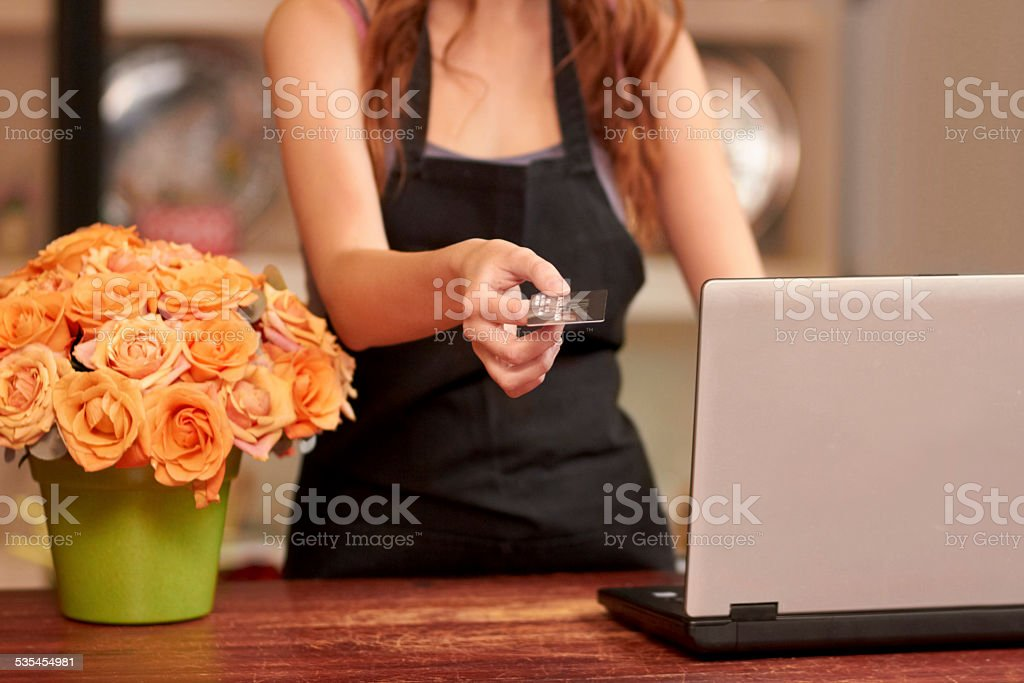 Only the best for her customers stock photo