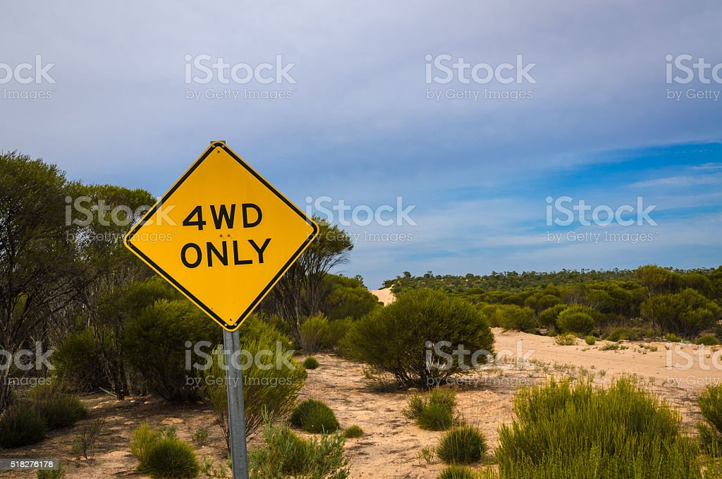 4WD only warning sign Four Wheel Drive Vehicle only track