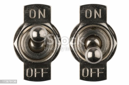 Two on/off switches. Isolated on pure white.
