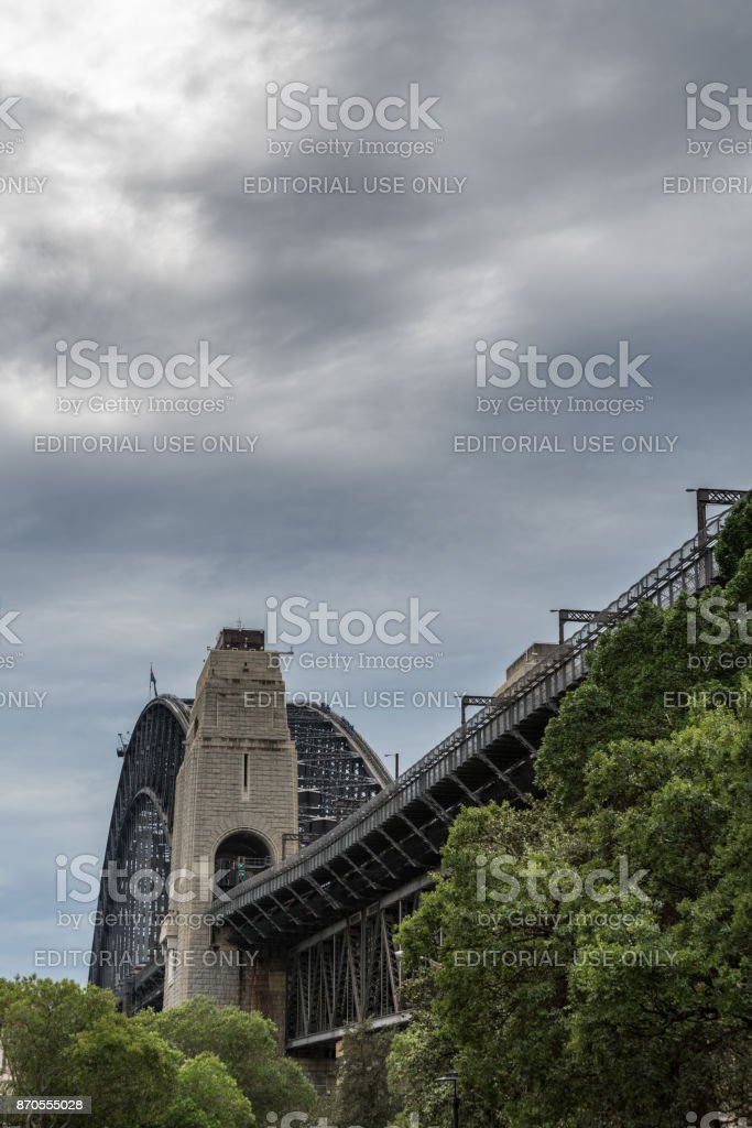 Onramp to Harbour Bridge in The Rocks Neighborhood, Sydney Australia. stock photo