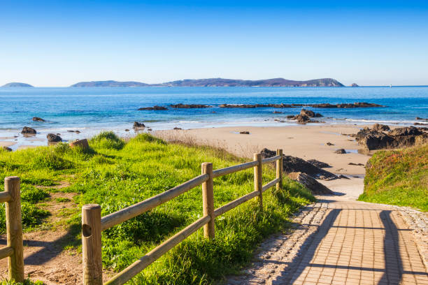 Ons island from Bascuas beach stock photo