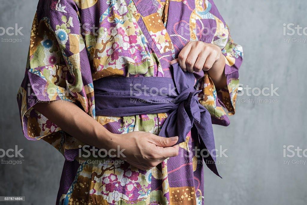 Onsen series : Tie obi yukata stock photo