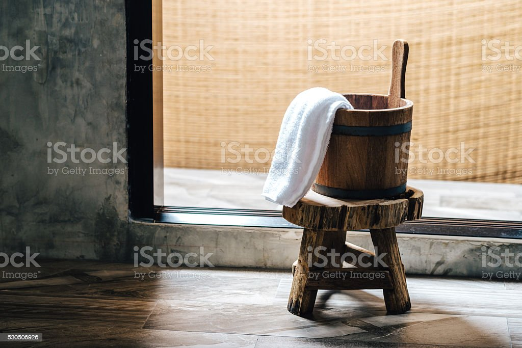 Onsen series : Wooden bucket stock photo