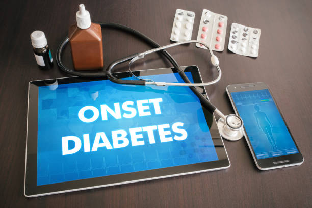 onset diabetes (endocrine disease) diagnosis medical concept on tablet screen with stethoscope - metabolic syndrome stock photos and pictures