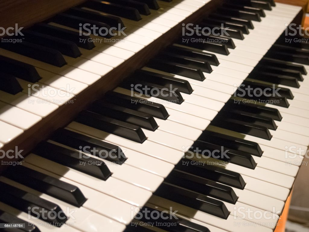 Сonsole of organ. Church of Saint Little Theresa of Keszthely in Hungary. stock photo