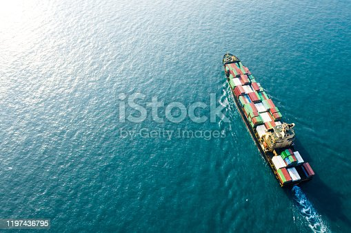 Container freight ship carrying container box for import and export business logistic and transportation by container ship in open sea, Aerial view.