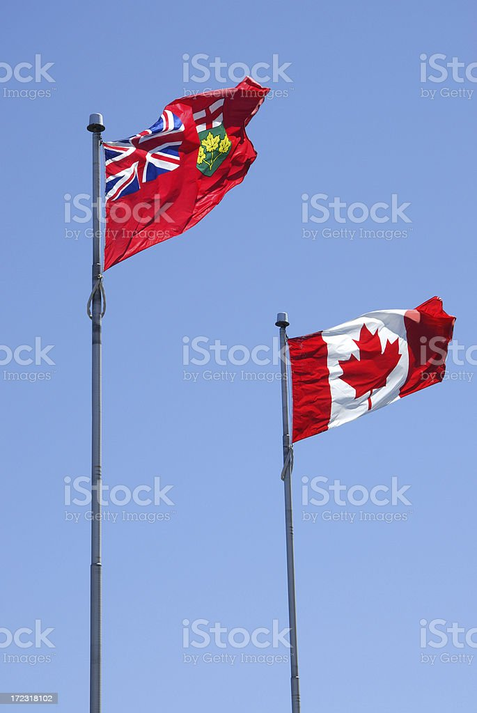 Ontario and Canadian Flags stock photo