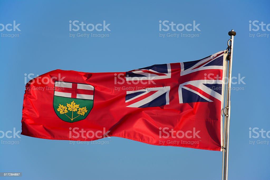 Ontario Flag in the wind stock photo