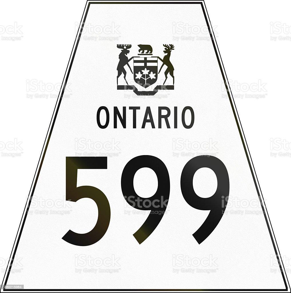 Ontario Highway Shield 599 stock photo