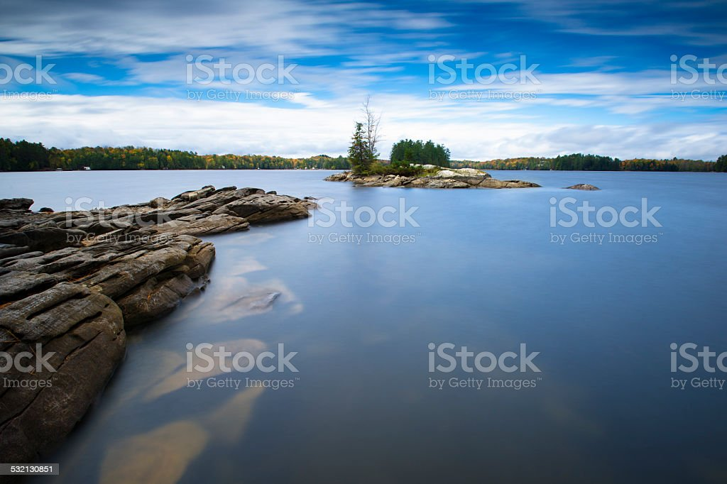 Ontario lake, shore view during Fall season stock photo