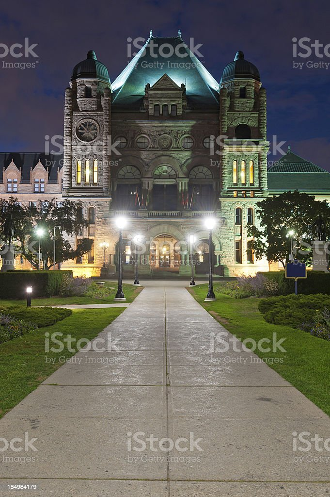 Ontario Legislative Building illuminated Toronto Canada royalty-free stock photo