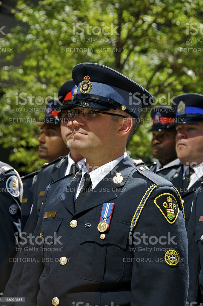 Ontario Provincial Police officer at NYPD Memorial ceremony, 09/09/2011, NYC stock photo