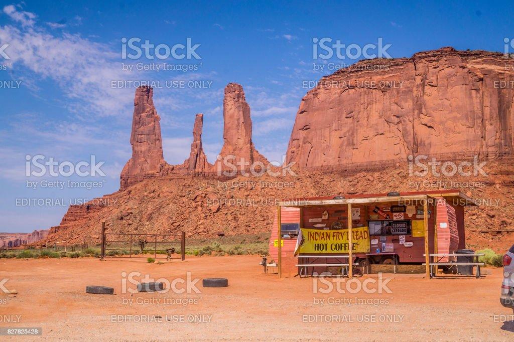 Мonument Valley Navajo Tribal Park. Navajo Souvenir Market. Handmade Gifts stock photo