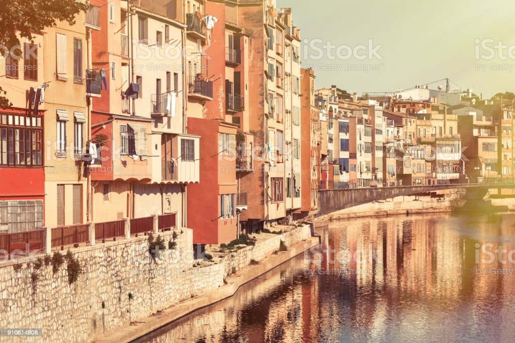 Onyar Girona river stock photo