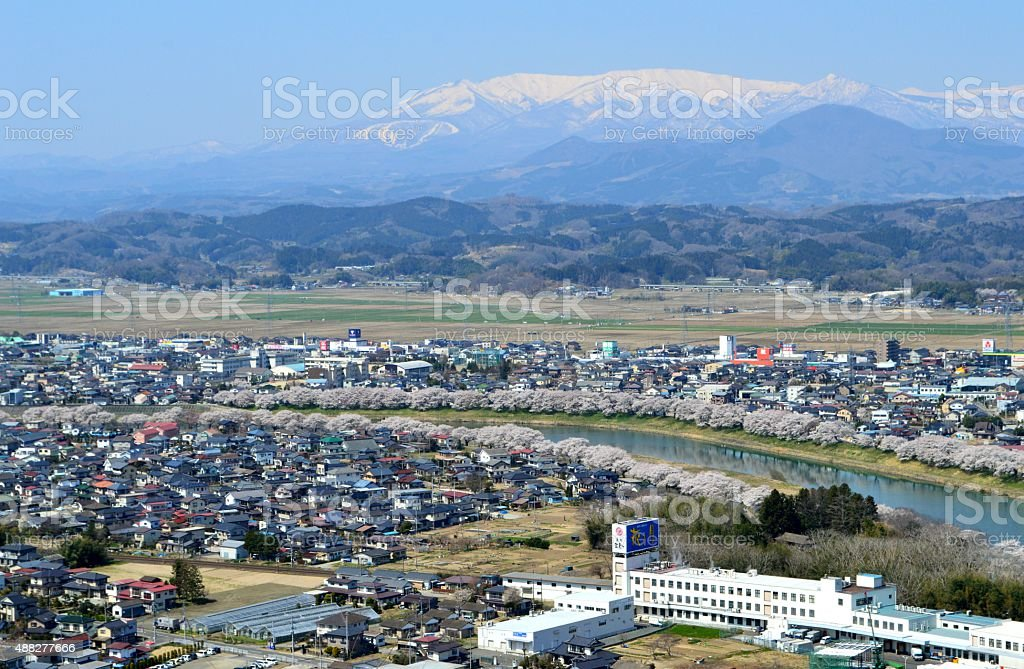 Oogawara town in spring stock photo