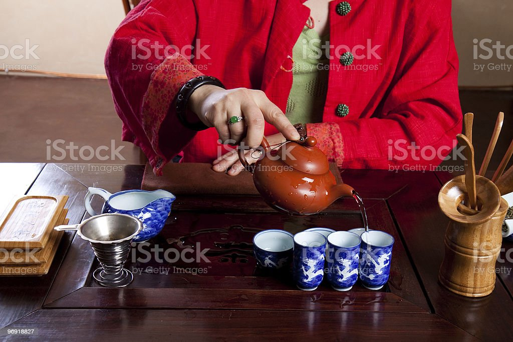 Oolong tea being poured royalty-free stock photo