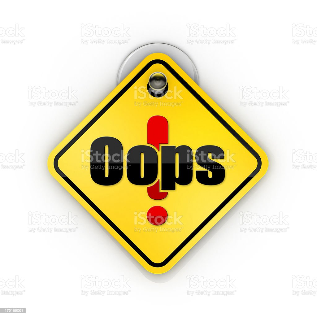 Ooops warning Sticky sign royalty-free stock photo