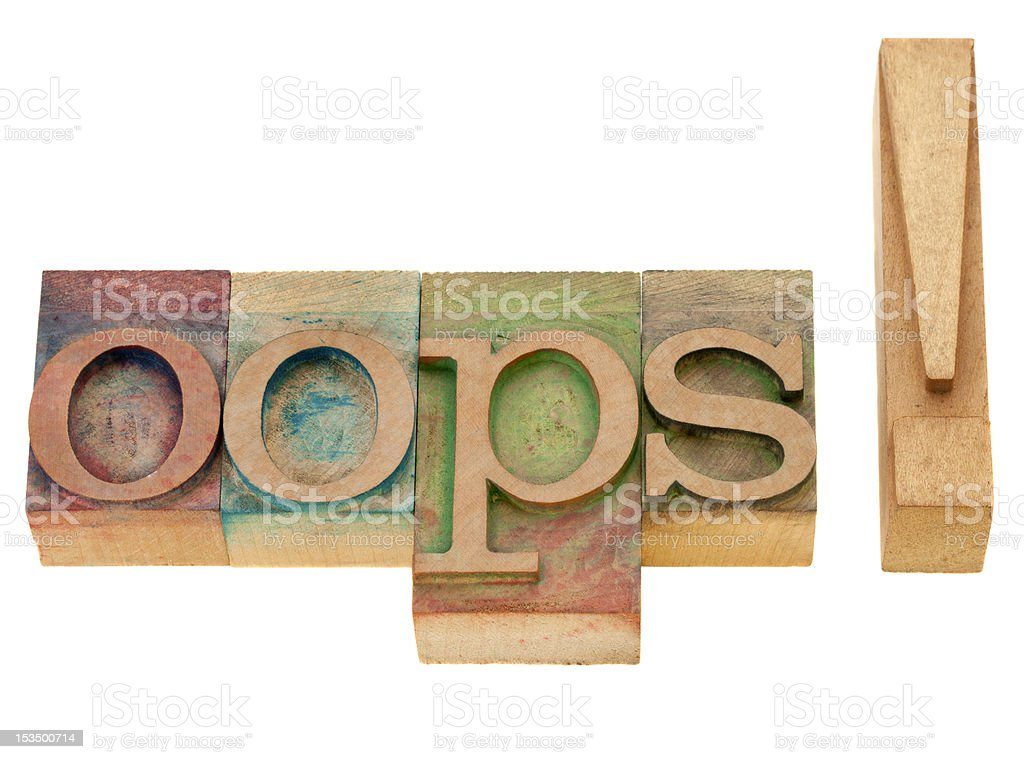 oops exclamation in letterpress type royalty-free stock photo