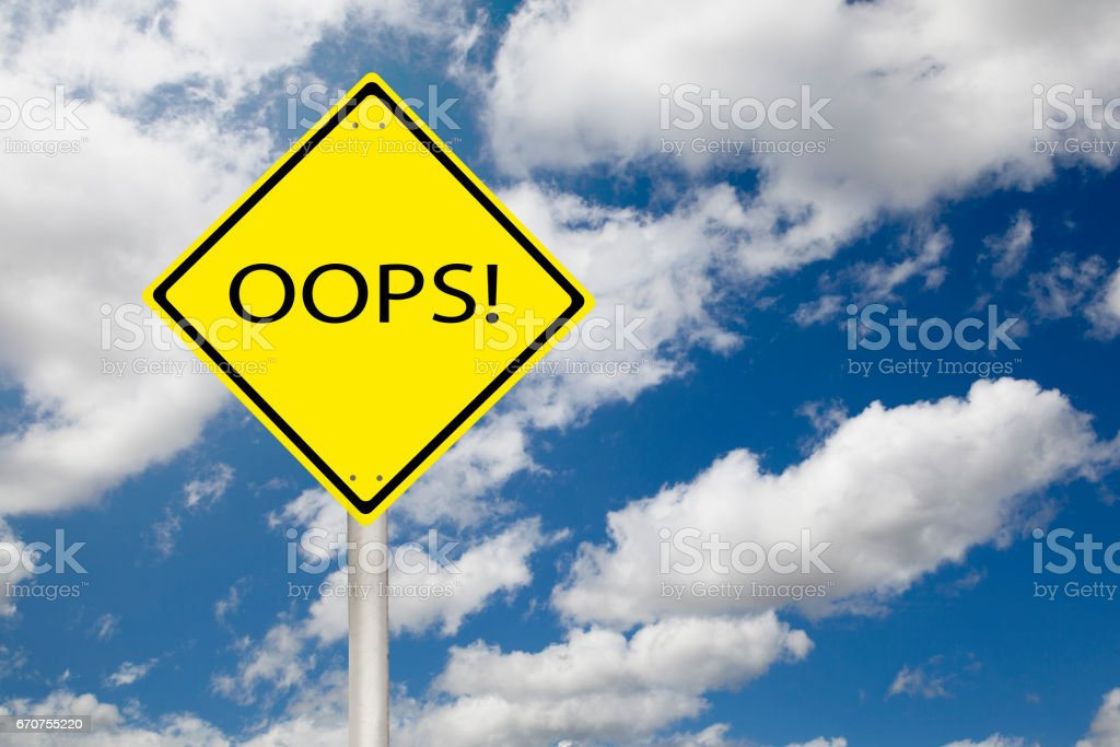 Oops sign showing business concept on a sky background stock photo